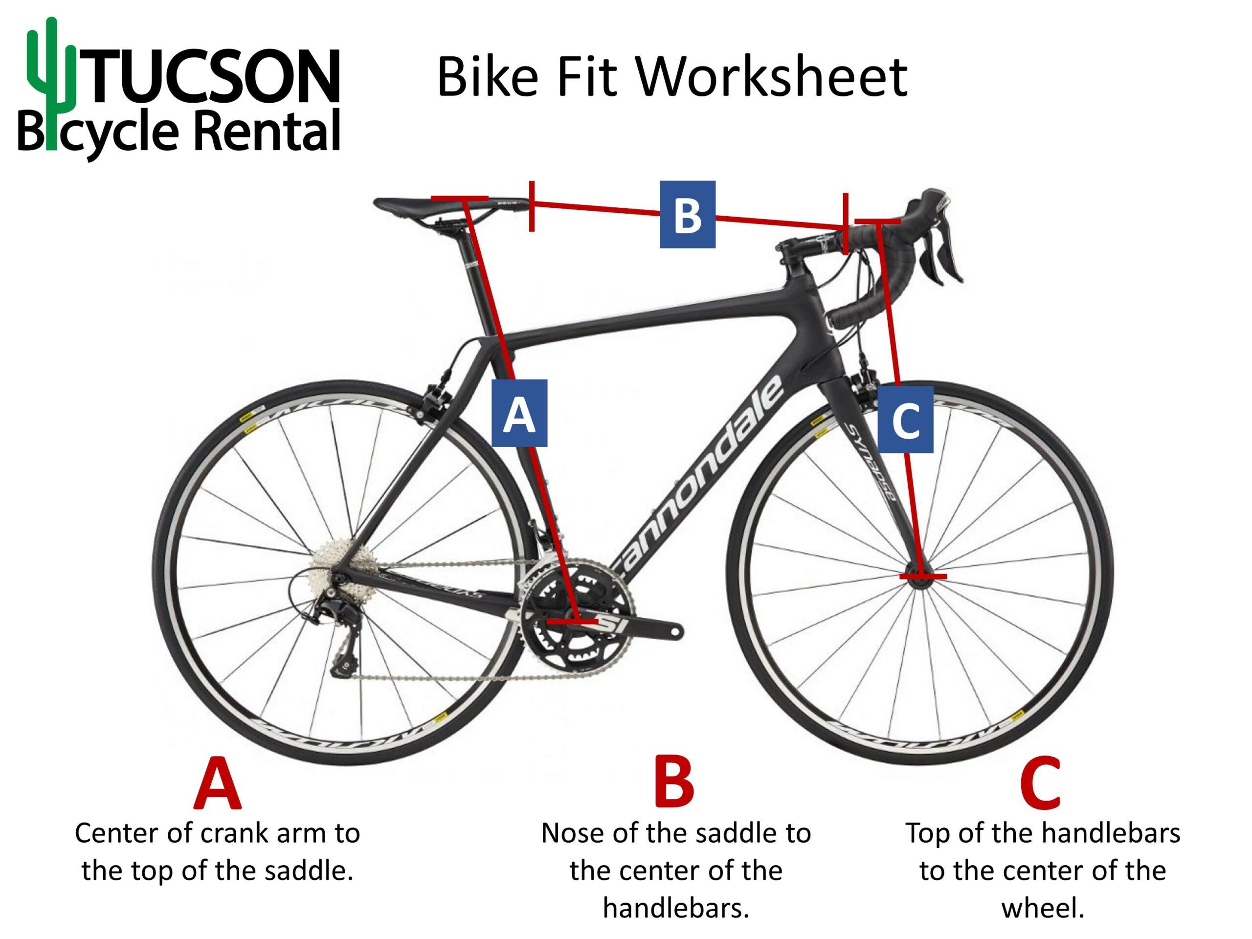 Tucson Bicyle Rental Bike Fit Worksheet